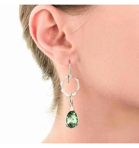 Srebrne kolczyki MOTYLE antyczna szarość z zielonym kryształem Swarovskiego