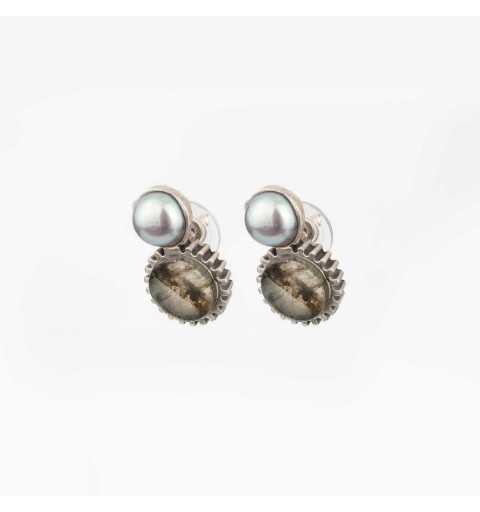 Srebrne kolczyki MOTYLE antyczna szarość kamień naturalny labradoryt i perły słodkowodne M4442