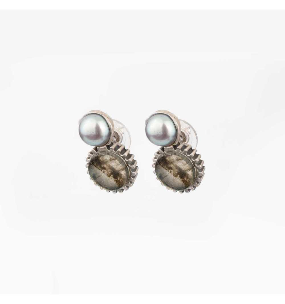 Srebrne kolczyki MOTYLE antyczna szarość kamień naturalny labradoryt i perły słodkowodne