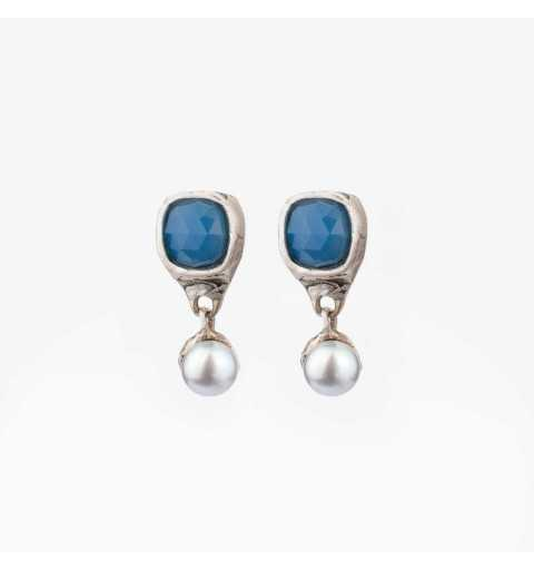 Srebrne kolczyki MOTYLE antyczna szarość kamień naturalny agat i perły słodkowodne M4417
