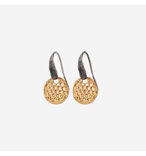 Srebrne kolczyki MOTYLE grafitowy blask królewskie złoto (24 karaty) M4388