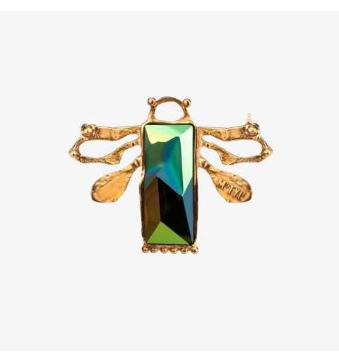 """Srebrna broszka MOTYLE królewskie złoto (24 karaty) kryształ Swarovskiego Jean Paul Gaultier """"Scarabeus Green"""" MG6238"""