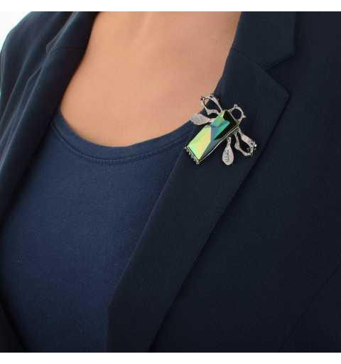 """Srebrna broszko-zawieszka MOTYLE grafitowy blask (czarny rod) kryształ Swarovskiego Jean Paul Gaultier """"Scarabeus Green"""" M6456"""