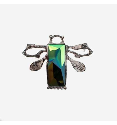 Srebrna broszka MOTYLE grafitowy blask (czarny rod) kryształ Swarovskiego SCARABAEUS GREEN