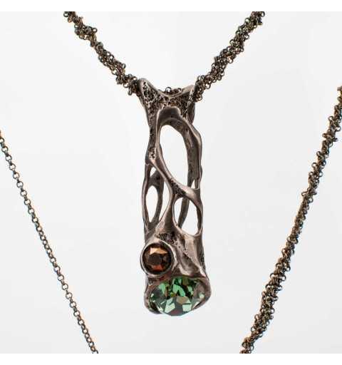 Srebrny naszyjnik MOTYLE antyczna szarość z kryształami Swarovskiego ERNITE, ROSE GOLD