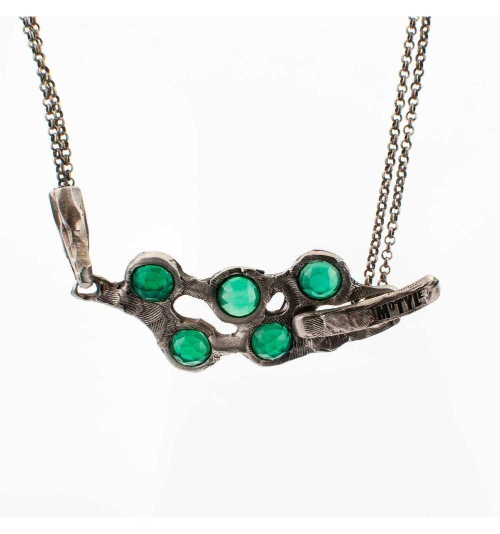 Srebrny naszyjnik MOTYLE antyczna szarość kamień naturalny zielony agat
