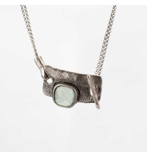 Srebrny naszyjnik MOTYLE antyczna szarość kamień naturalny agat M2431
