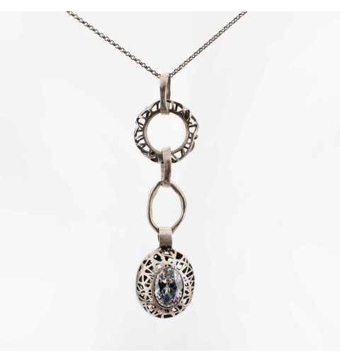 Srebrny naszyjnik MOTYLE antyczna szarość z białymi kryształami Swarovskiego