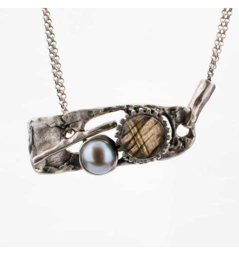 Srebrny naszyjnik MOTYLE antyczna szarość kamień naturalny labradoryt z perłą słodkowodną