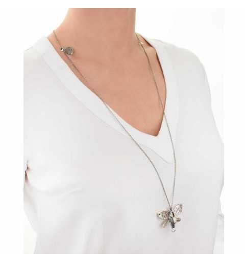Srebrny naszyjnik MOTYLE antyczna szarość z kryształem Swarovskiego BLUE SHADE