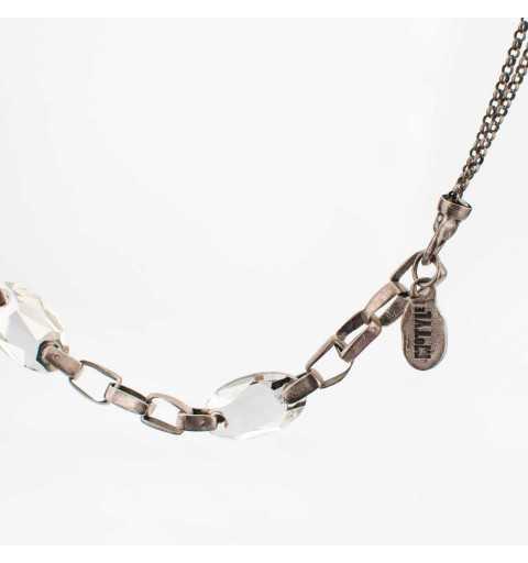 Srebrny naszyjnik MOTYLE antyczna szarość z kryształami Swarovskiego