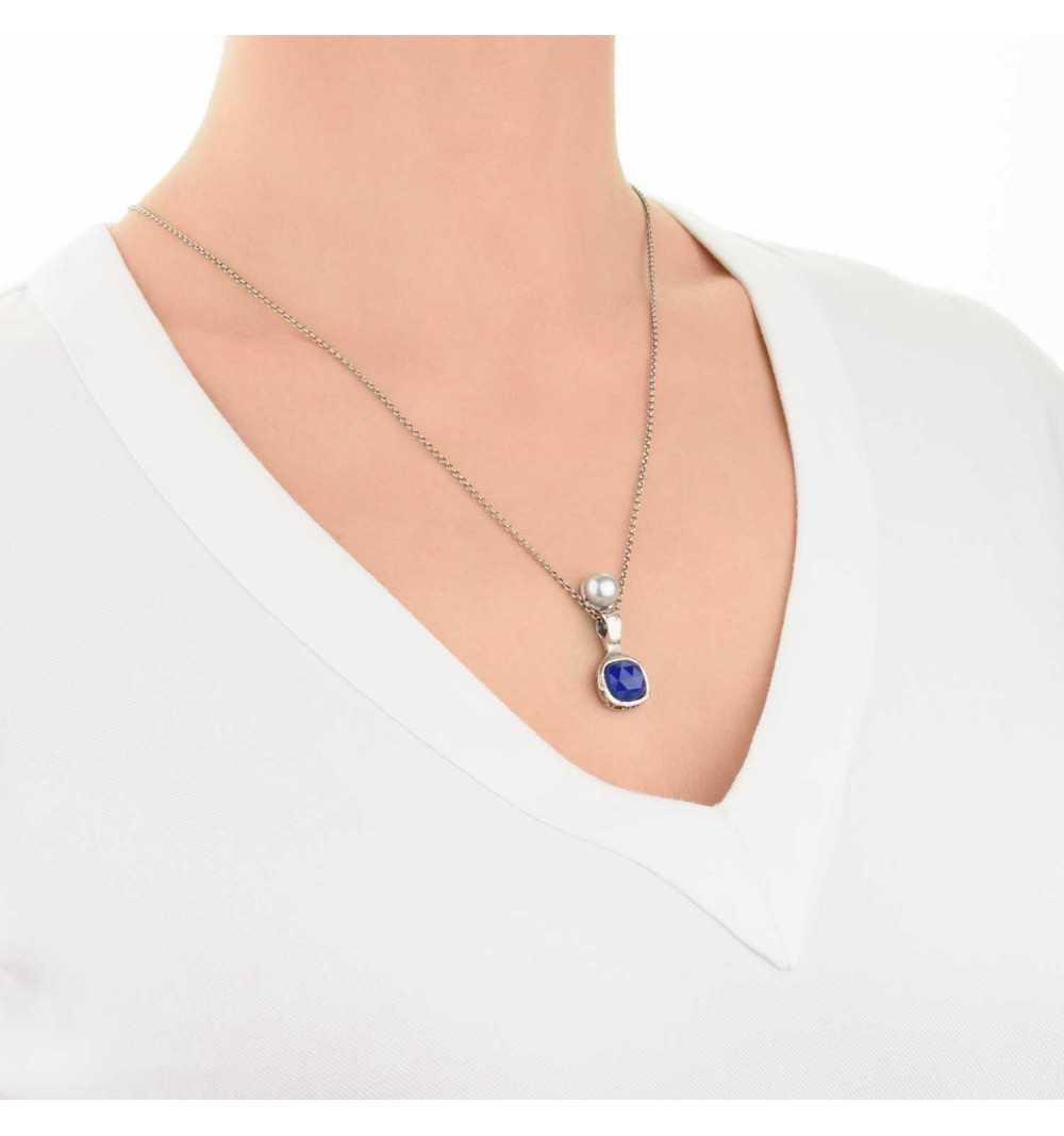 Srebrny naszyjnik MOTYLE antyczna szarość kamień naturalny agat z perłą słodkowodną