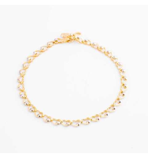 Złota bransoleta z serduszkami z białego i żółtego złota