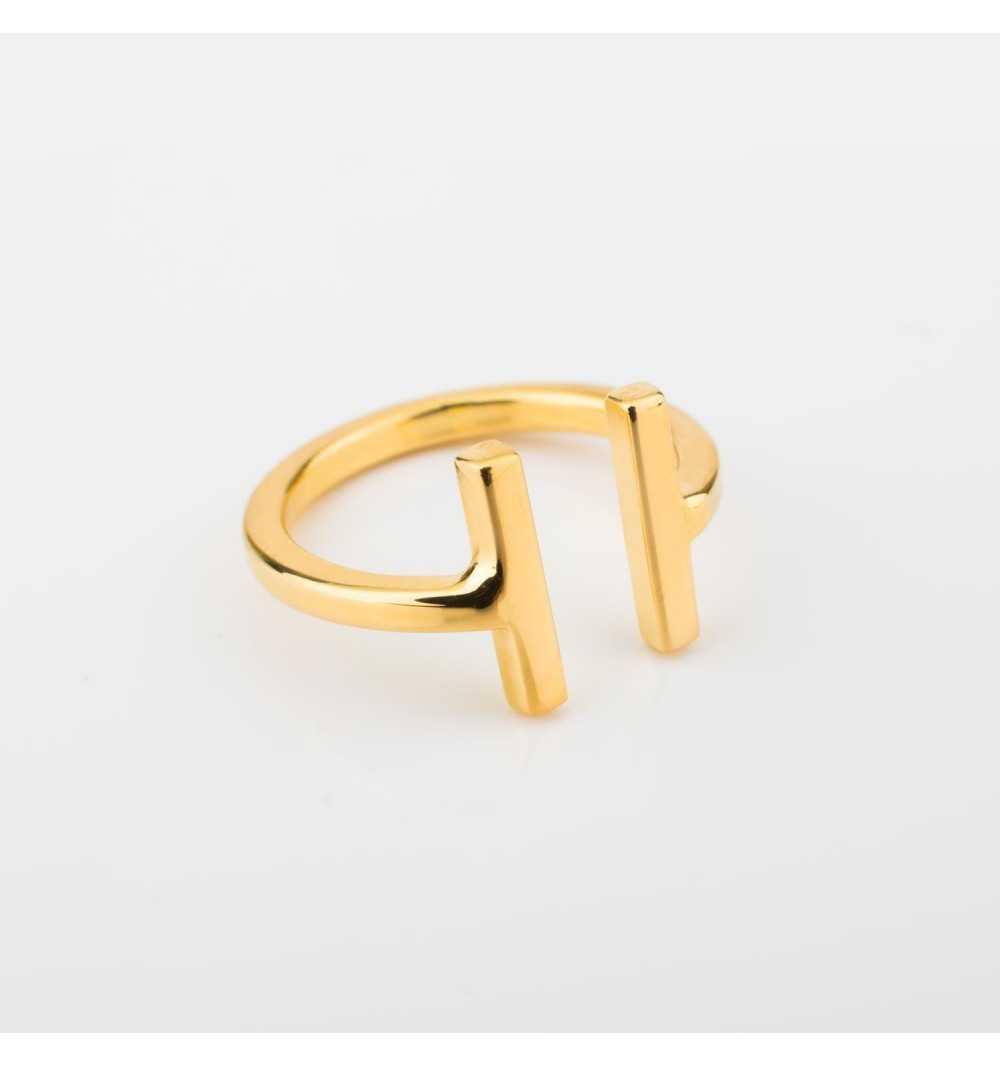 Delikatny pozłacany srebrny pierścionek T-collection
