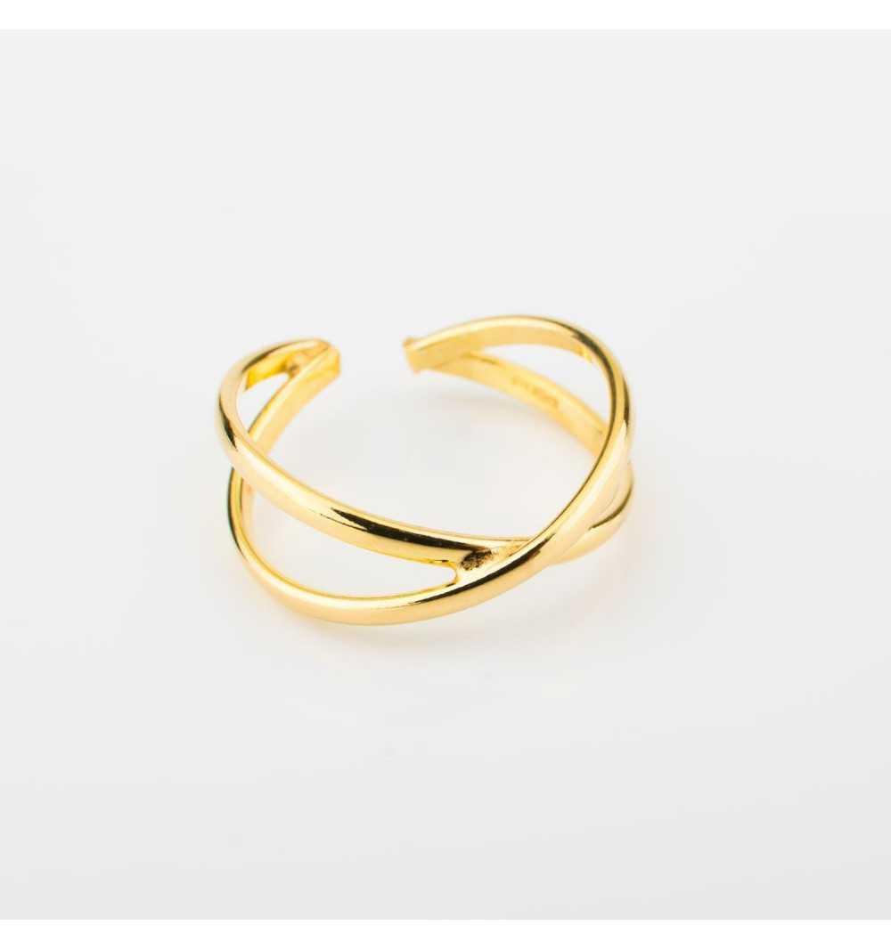 Pozłacany srebrny pierścionek geometryczny skrzyżowane niezakończone elipsy