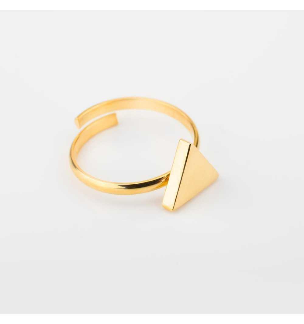 Pozłacany srebrny pierścionek z trójkątem z możliwością regulacji
