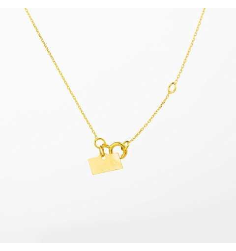 Złoty naszyjnik celebrytka serduszko z dziurkami