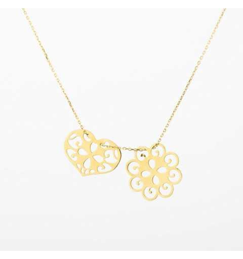 Złoty naszyjnik celebrytka ażurowy kwiat i serce