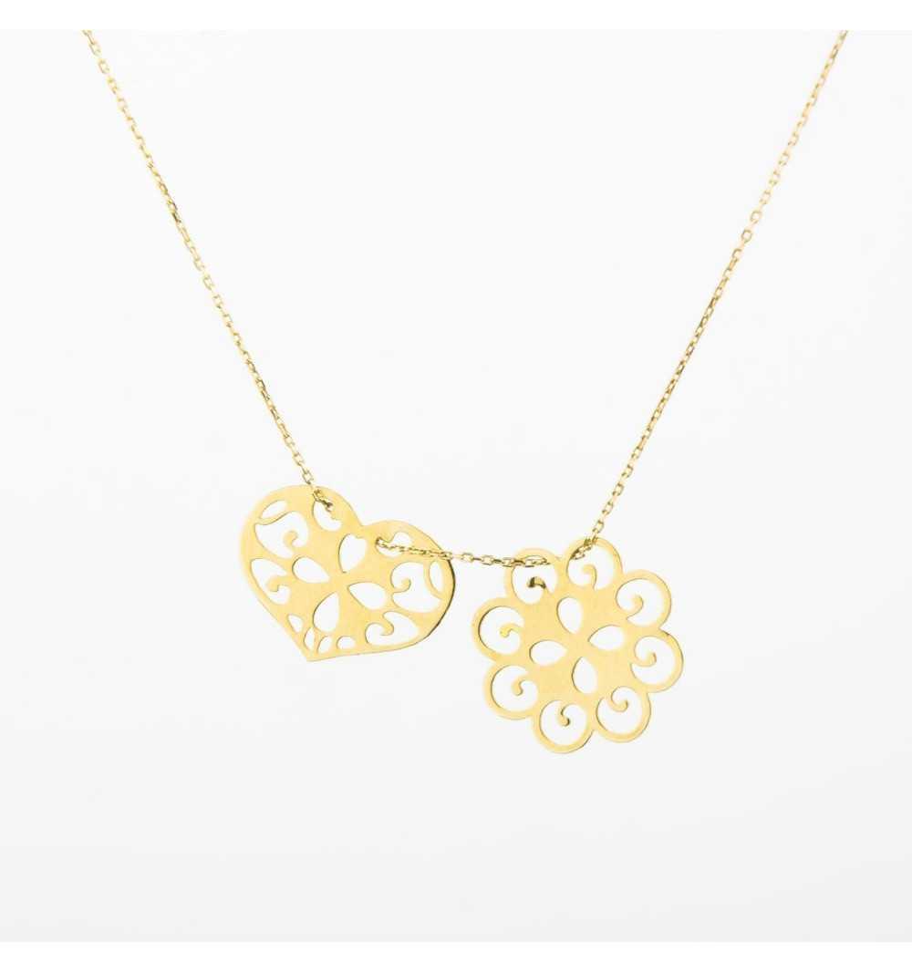0fabf0656a4286 Złoty naszyjnik celebrytka ażurowy kwiat i serce