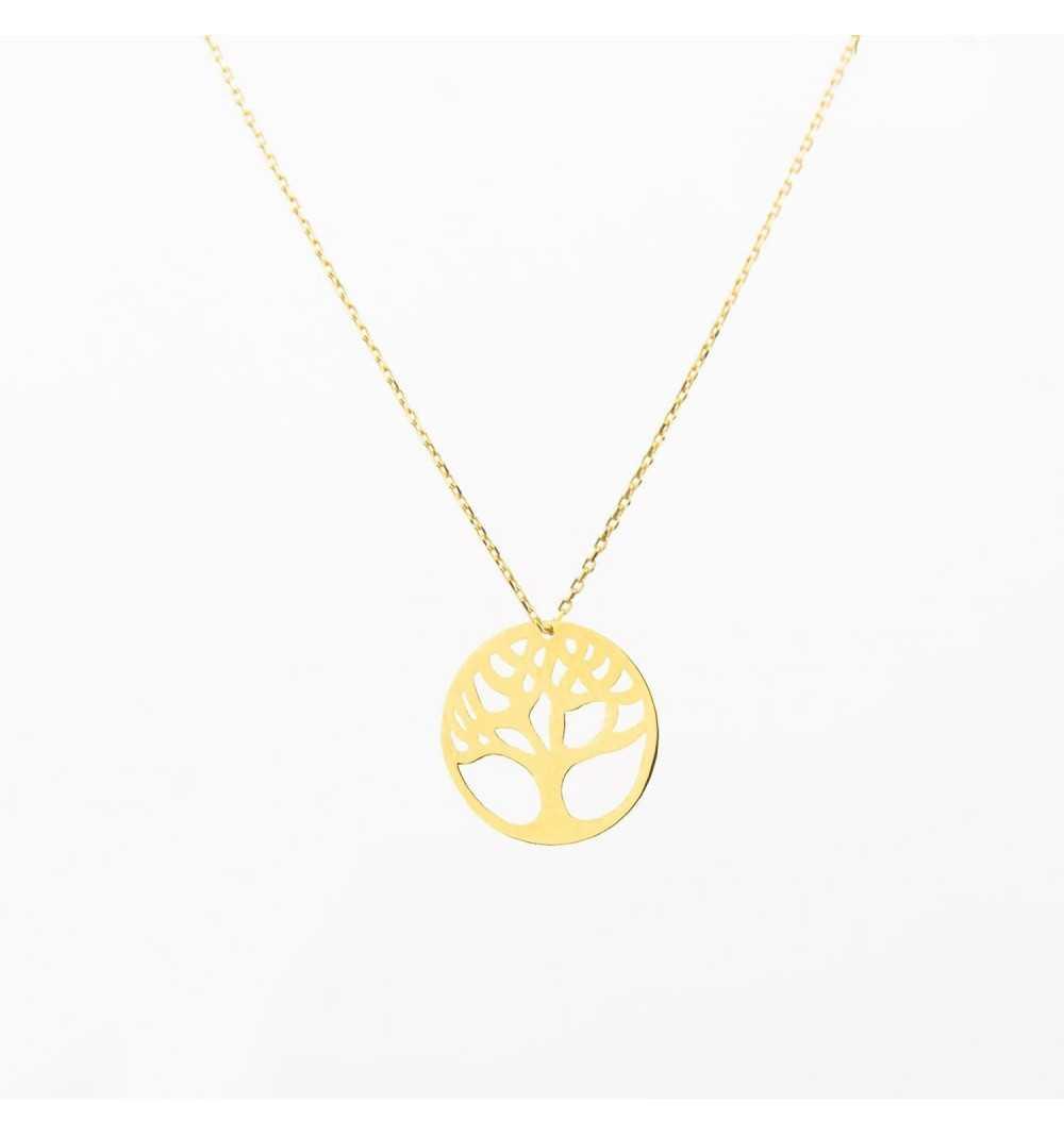 Złoty naszyjnik celebrytka drzewko życia