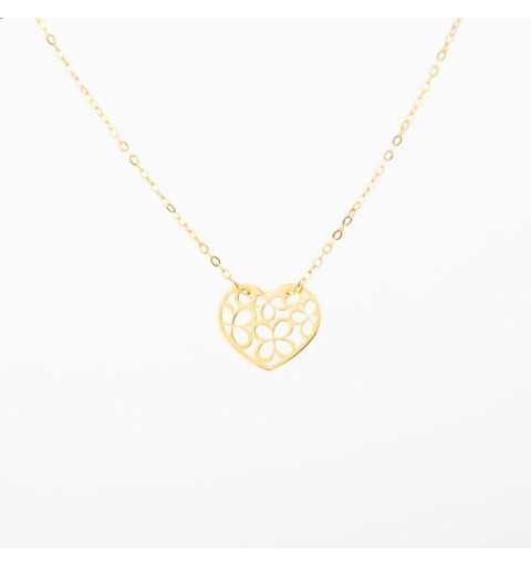 Złoty naszyjnik celebrytka serce wypełnione kwiatuszkami