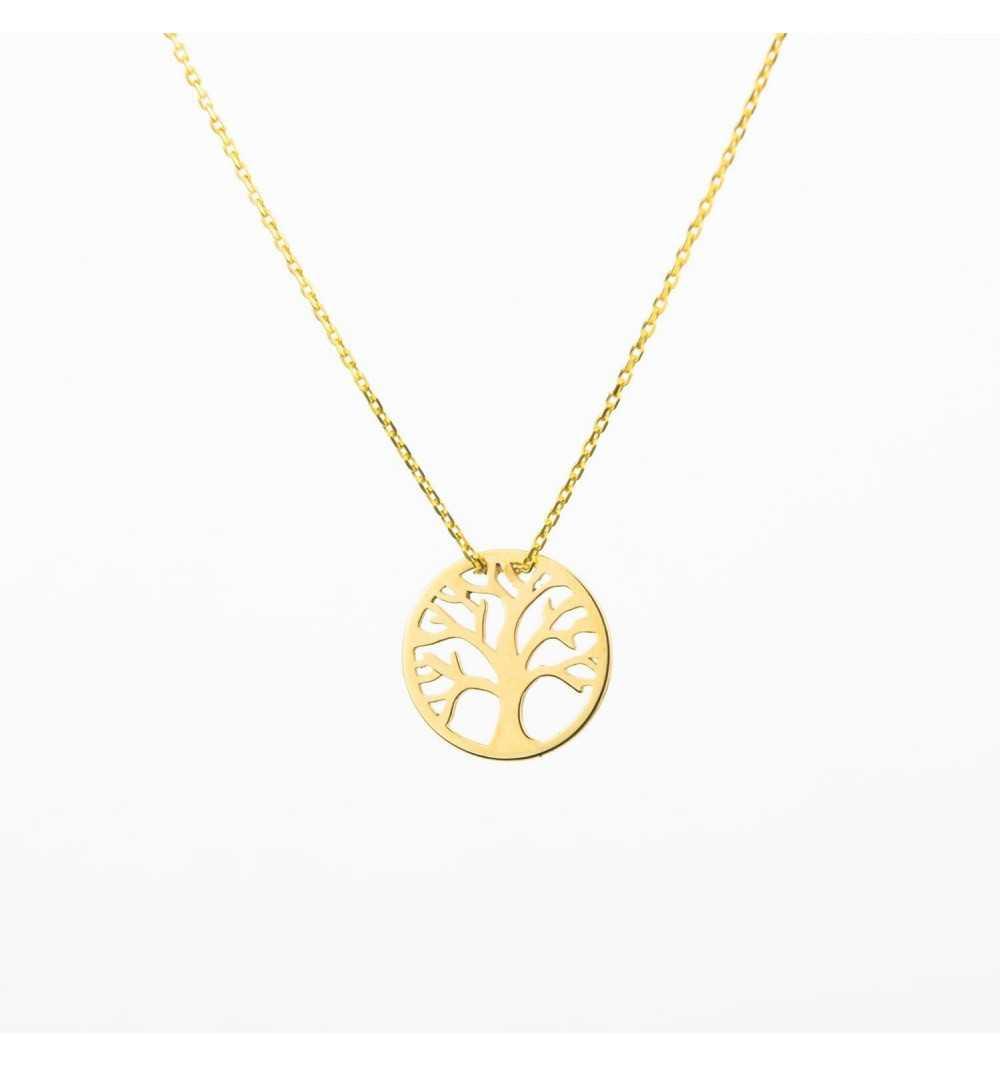 Złoty naszyjnik celebrytka z drzewem życia
