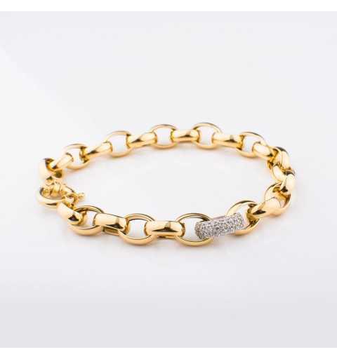 Złota bransoleta z dmuchanymi ogniwami ozdobiona elementem z cyrkoniami