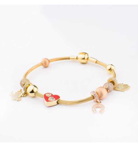 Złota bransoletka z charmsami serce, gołąb, podkowa, Ręka Fatimy
