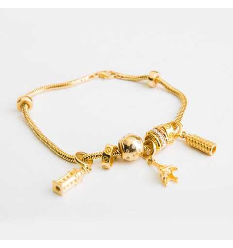 Złota bransoletka z symbolami miast Wieżą Eiffla, Big Ben i Krzywą Wieżą w Pizie