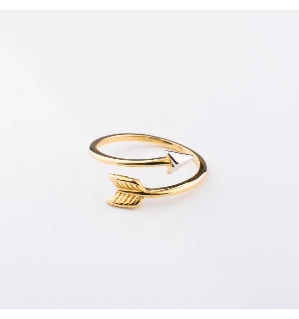Złoty pierścionek strzała amora