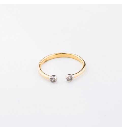Złoty pierścionek otwarty z cyrkoniami