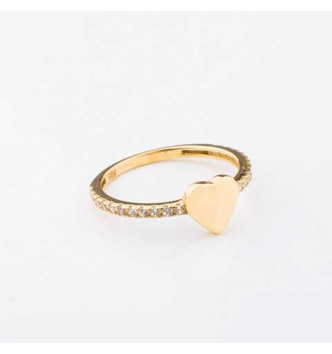 Złoty pierścionek z sercem i cyrkoniami