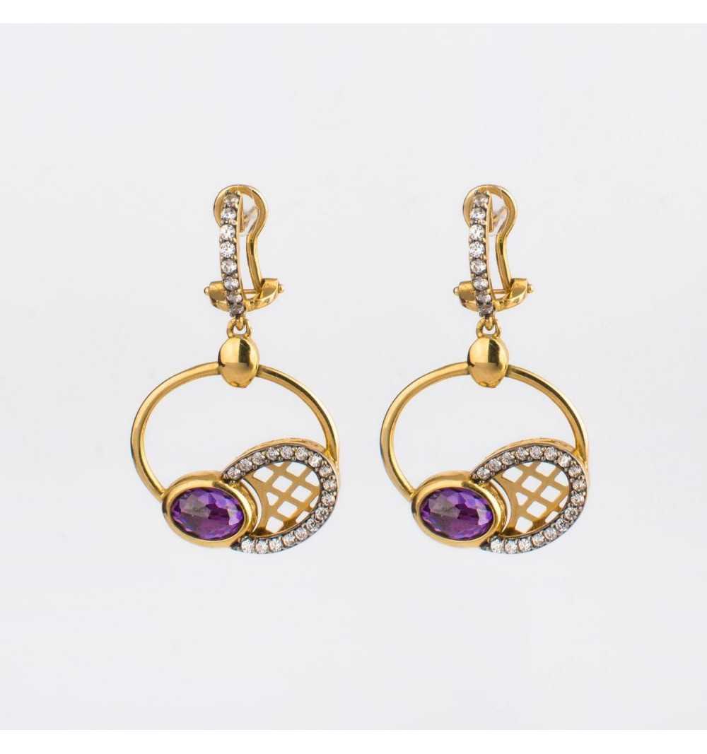 Finezyjne złote kolczyki z fioletowym ametystem i białymi cyrkoniami