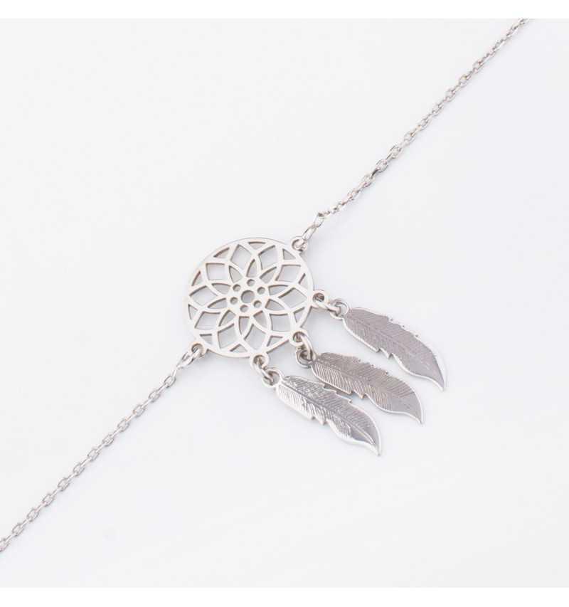 Delikatna srebrna bransoleta łapacz snów z trzema piórkami