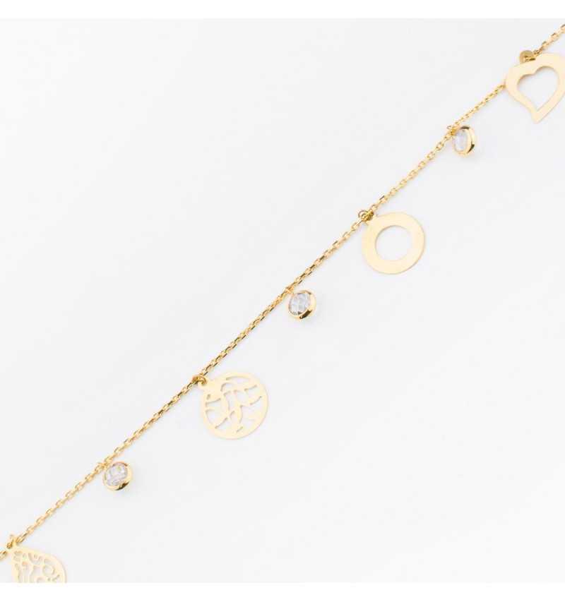Złota bransoletka z oryginalnymi zawieszkami