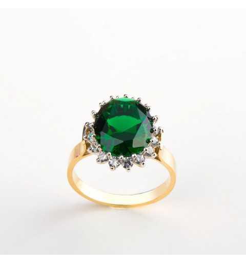 Elegancki złoty pierścionek ze szmaragdową cyrkonią