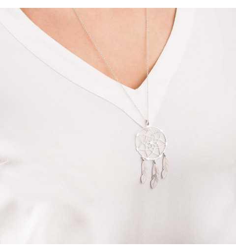 Srebrny naszyjnik łapacz snów z trzema piórkami