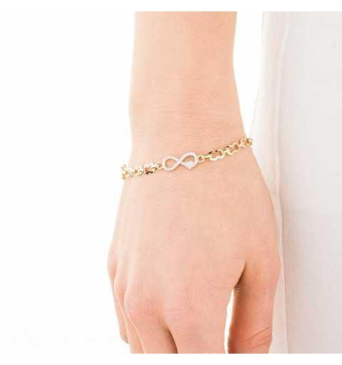 Złota bransoletka z nieskończonościami wysadzanymi białymi cyrkoniami