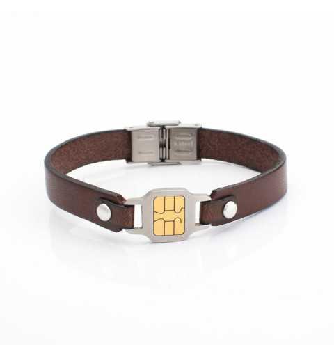 Stalowa bransoletka z imitacją mikrochip`a
