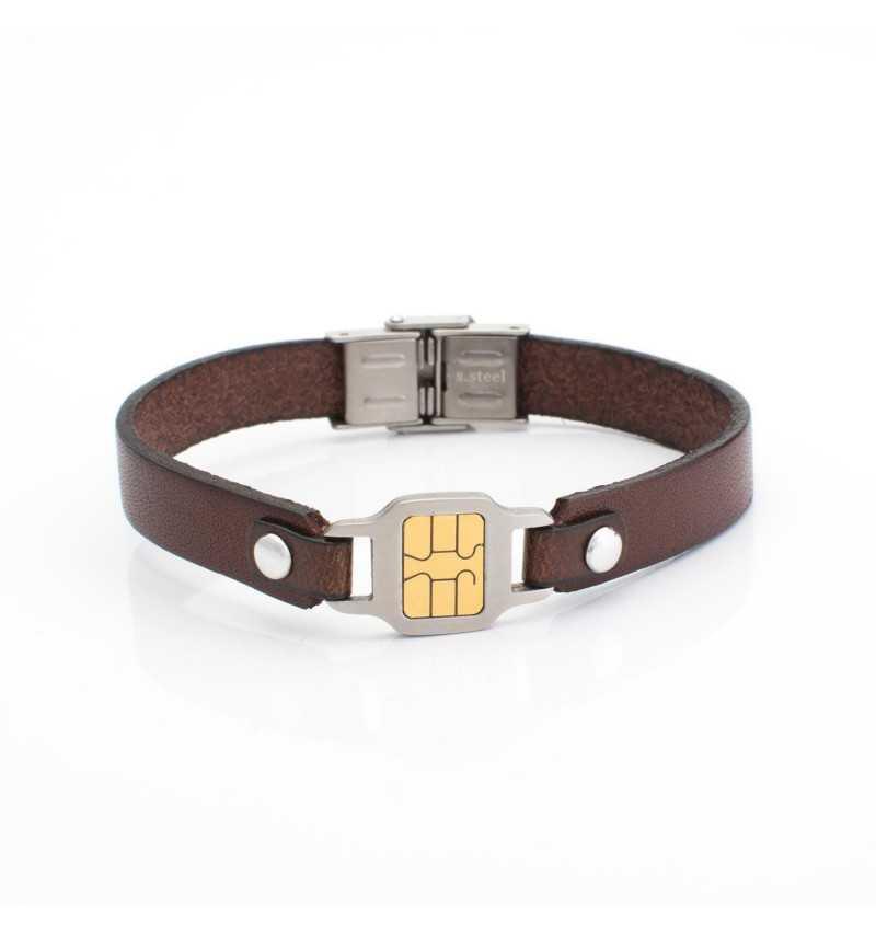 Męska stalowa bransoletka z imitacją mikrochip`a