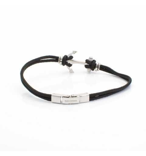 Stalowa bransoletka z kotwicą na czarnych sznurkach