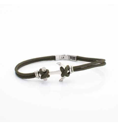 Stalowa bransoletka z kotwicą na zielonym sznurku