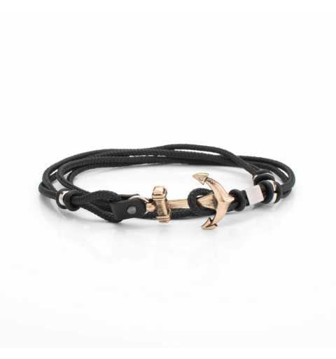 Stalowa bransoletka z kotwicą na czarnym sznurku