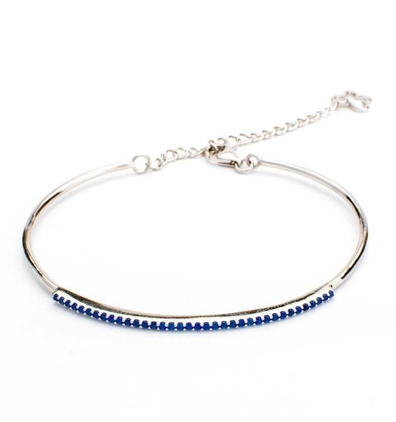 Srebrna bransoletka z szafirowymi cyrkoniami