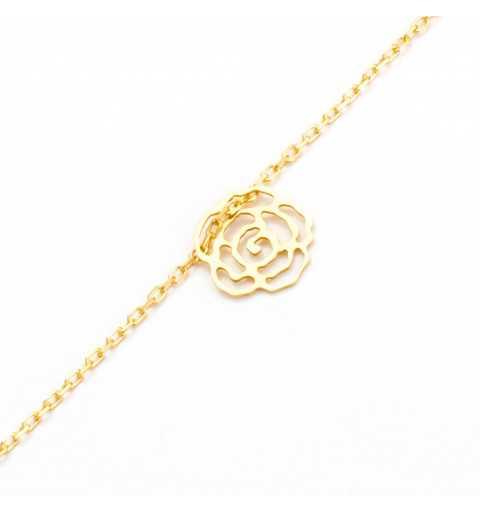 Pozłacana srebrna celebrytka bransoletka ażurowa róża
