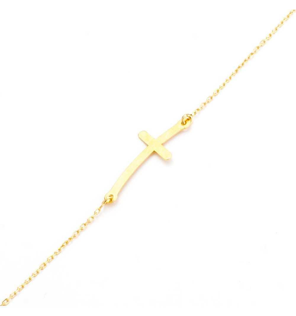 Pozłacana srebrna celebrytka krzyżyk