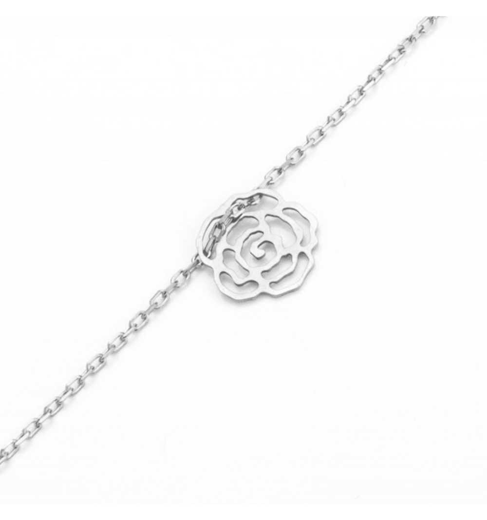 Srebrna celebrytka bransoletka ażurowa róża