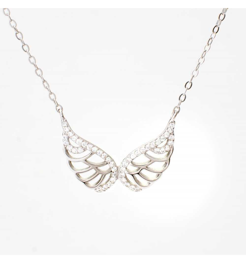 Srebrny naszyjnik skrzydełko wysadzane cyrkoniami