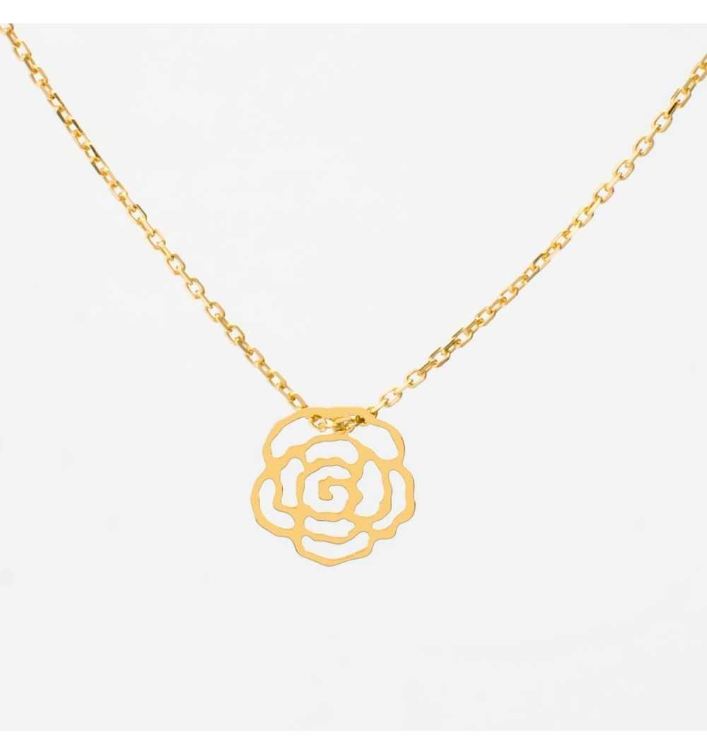 Pozłacana srebrna celebrytka naszyjnik ażurowa róża
