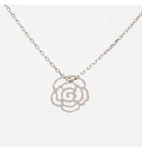 Srebrna celebrytka naszyjnik ażurowa róża